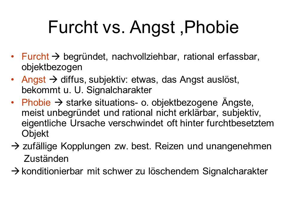 Furcht vs. Angst ,Phobie Furcht  begründet, nachvollziehbar, rational erfassbar, objektbezogen.