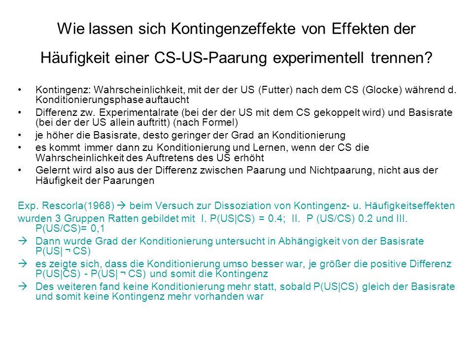 Wie lassen sich Kontingenzeffekte von Effekten der Häufigkeit einer CS-US-Paarung experimentell trennen