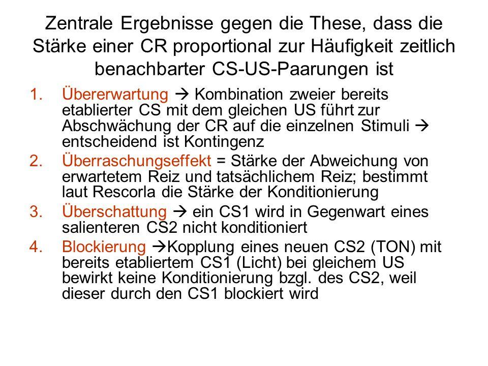 Zentrale Ergebnisse gegen die These, dass die Stärke einer CR proportional zur Häufigkeit zeitlich benachbarter CS-US-Paarungen ist