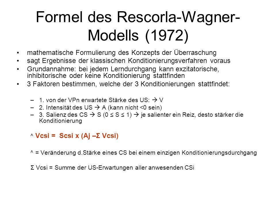 Formel des Rescorla-Wagner-Modells (1972)