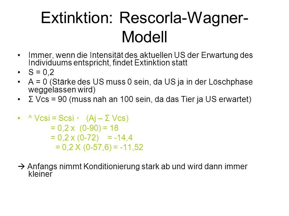 Extinktion: Rescorla-Wagner-Modell