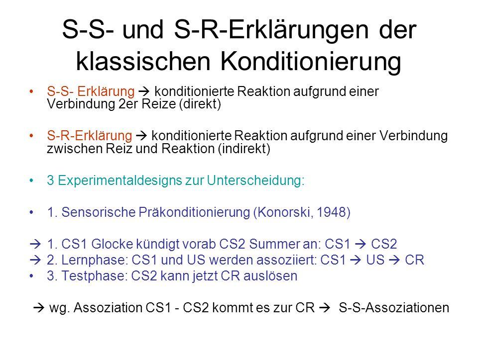 S-S- und S-R-Erklärungen der klassischen Konditionierung