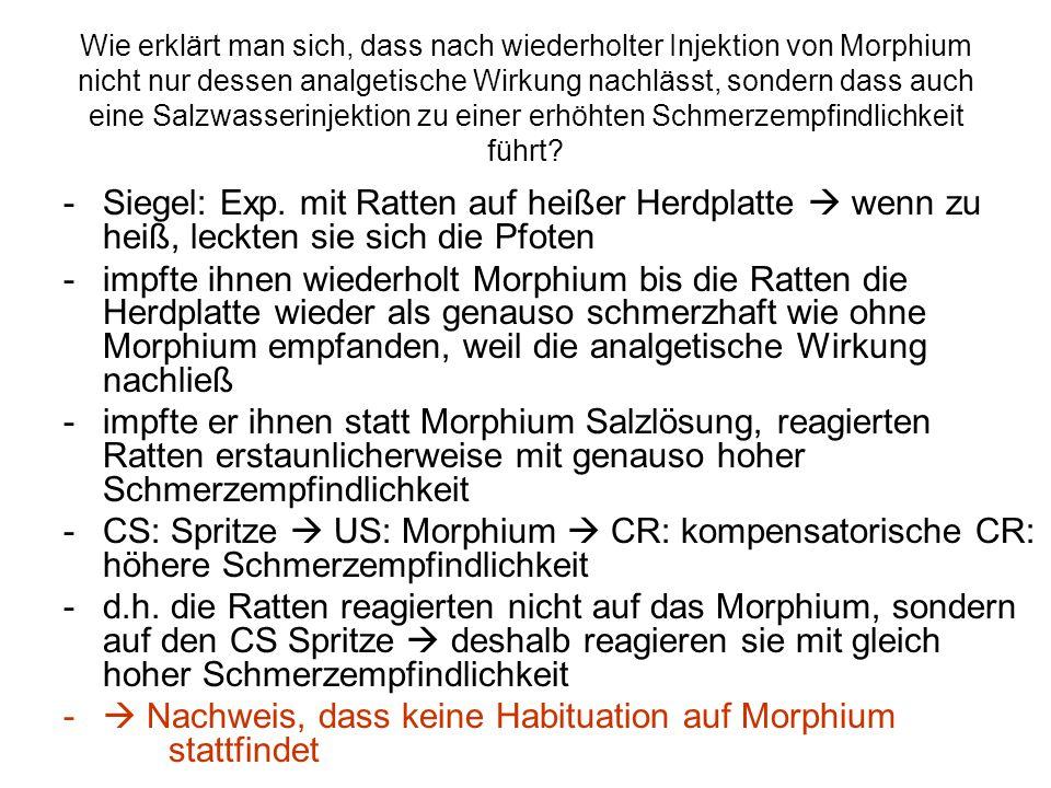 Nachweis, dass keine Habituation auf Morphium stattfindet