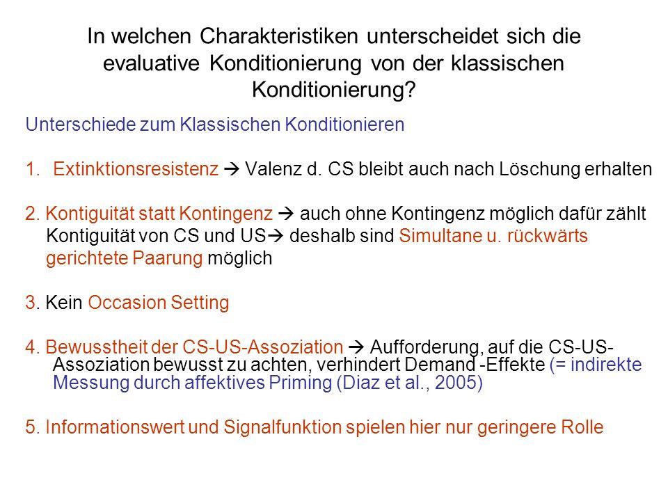 In welchen Charakteristiken unterscheidet sich die evaluative Konditionierung von der klassischen Konditionierung