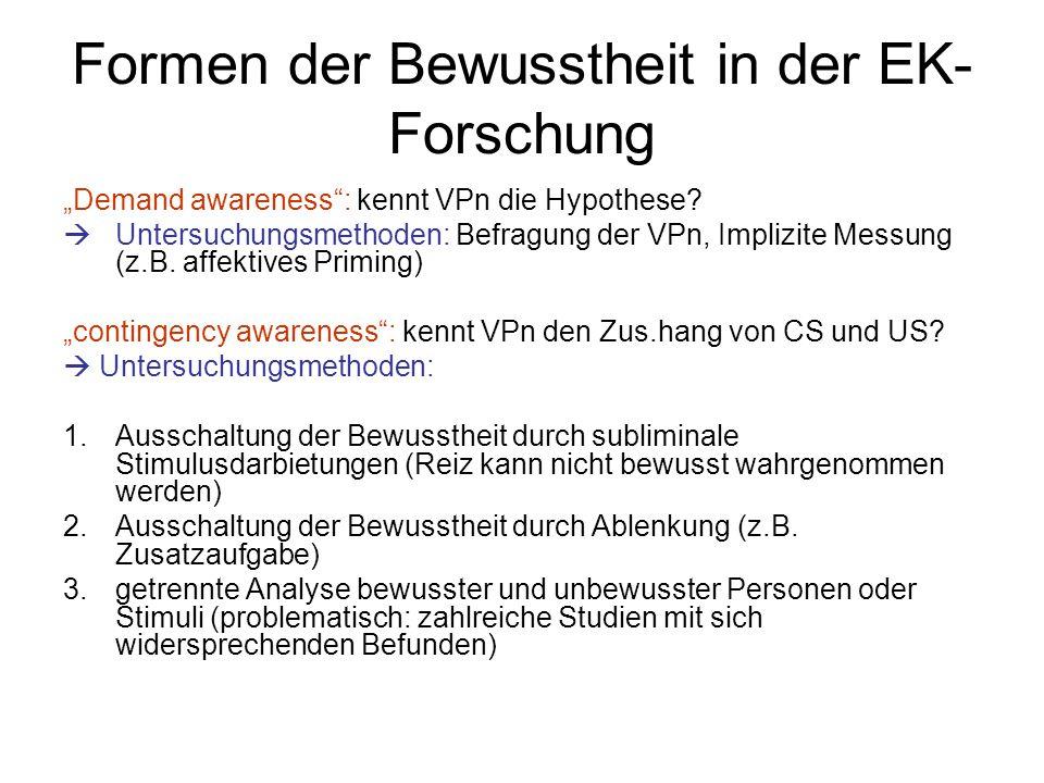 Formen der Bewusstheit in der EK-Forschung