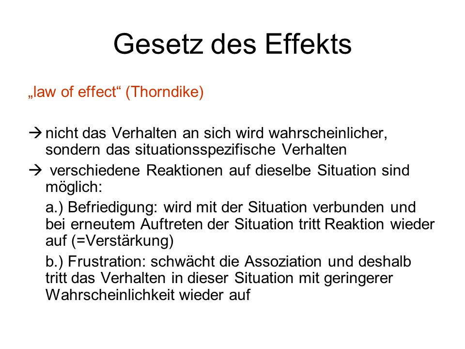 "Gesetz des Effekts ""law of effect (Thorndike)"