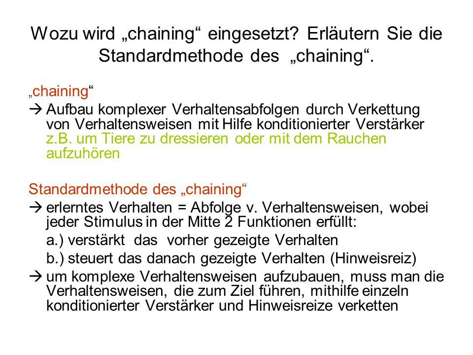 """Wozu wird """"chaining eingesetzt"""