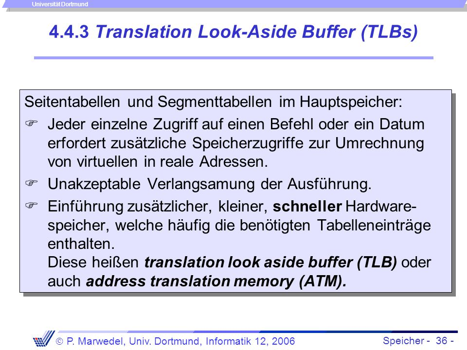 4.4.3 Translation Look-Aside Buffer (TLBs)