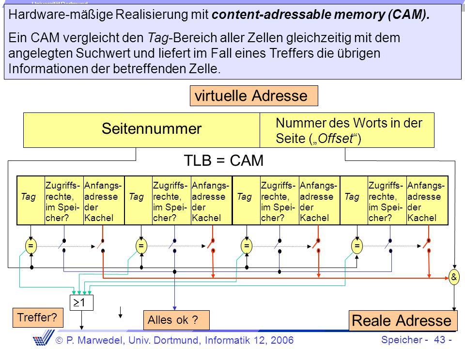 Hardware-mäßige Realisierung mit content-adressable memory (CAM).