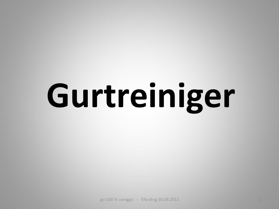 Gurtreiniger go 100 % wanggo - Eferding 30.09.2011