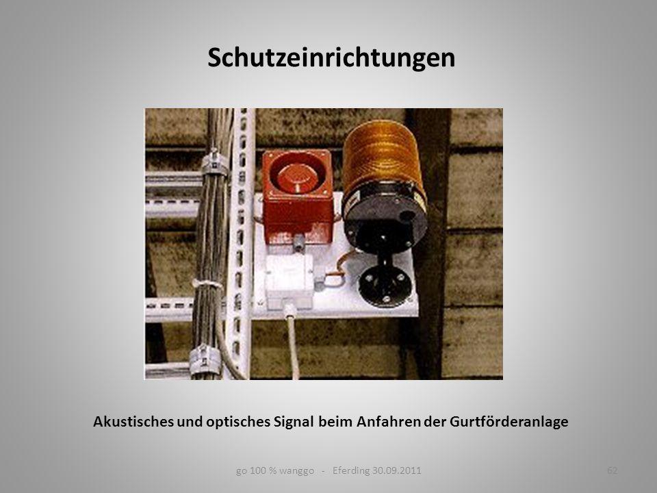 Akustisches und optisches Signal beim Anfahren der Gurtförderanlage