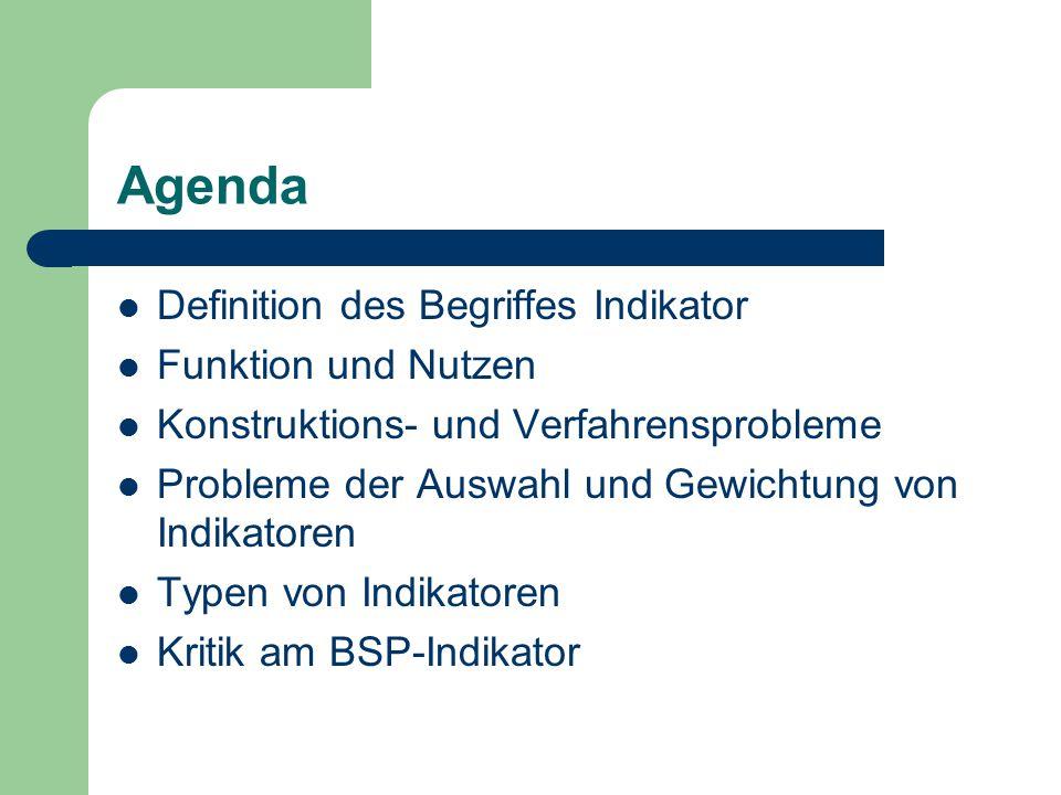 Agenda Definition des Begriffes Indikator Funktion und Nutzen