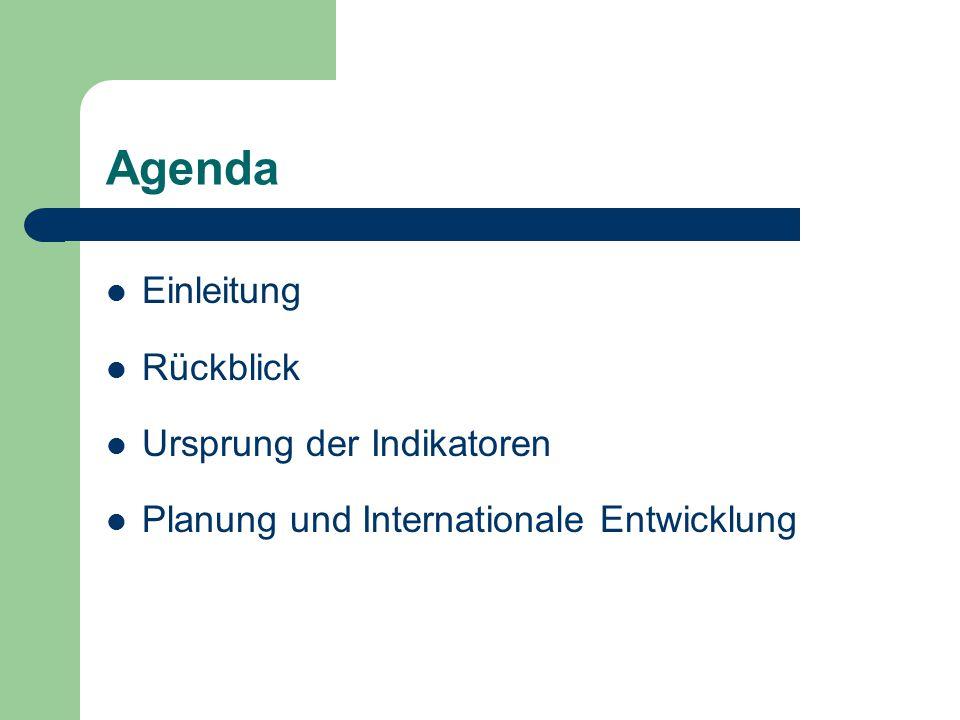 Agenda Einleitung Rückblick Ursprung der Indikatoren