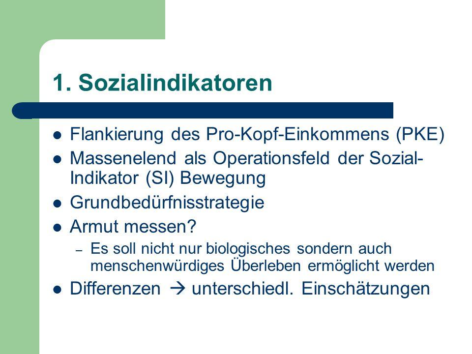 1. Sozialindikatoren Flankierung des Pro-Kopf-Einkommens (PKE)