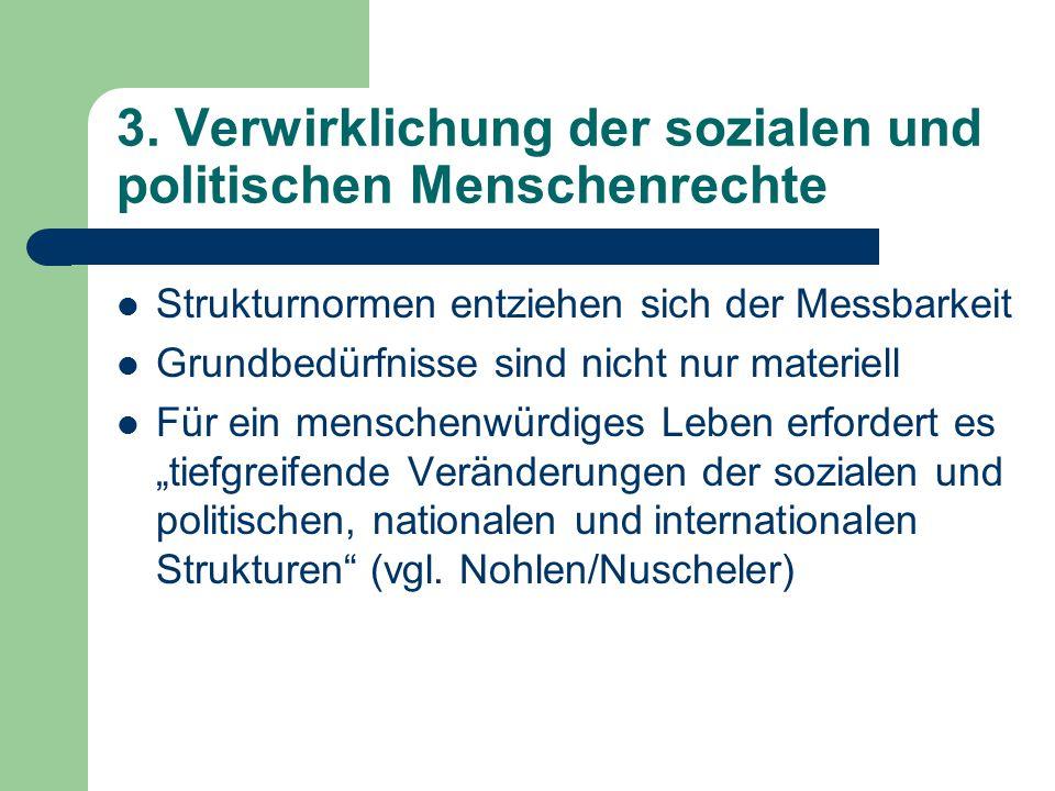 3. Verwirklichung der sozialen und politischen Menschenrechte