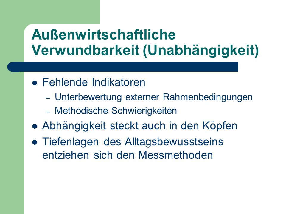 Außenwirtschaftliche Verwundbarkeit (Unabhängigkeit)