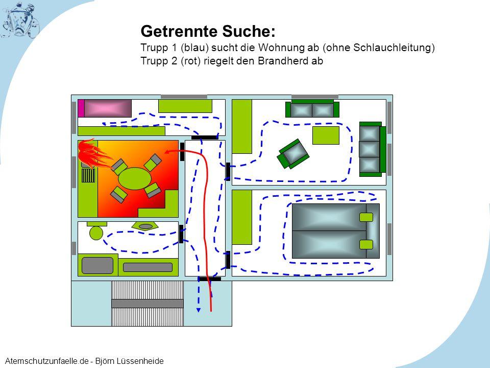 Getrennte Suche: Trupp 1 (blau) sucht die Wohnung ab (ohne Schlauchleitung) Trupp 2 (rot) riegelt den Brandherd ab.