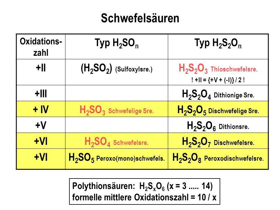 H2SO5 Peroxo(mono)schwefels. H2S2O8 Peroxodischwefelsre.