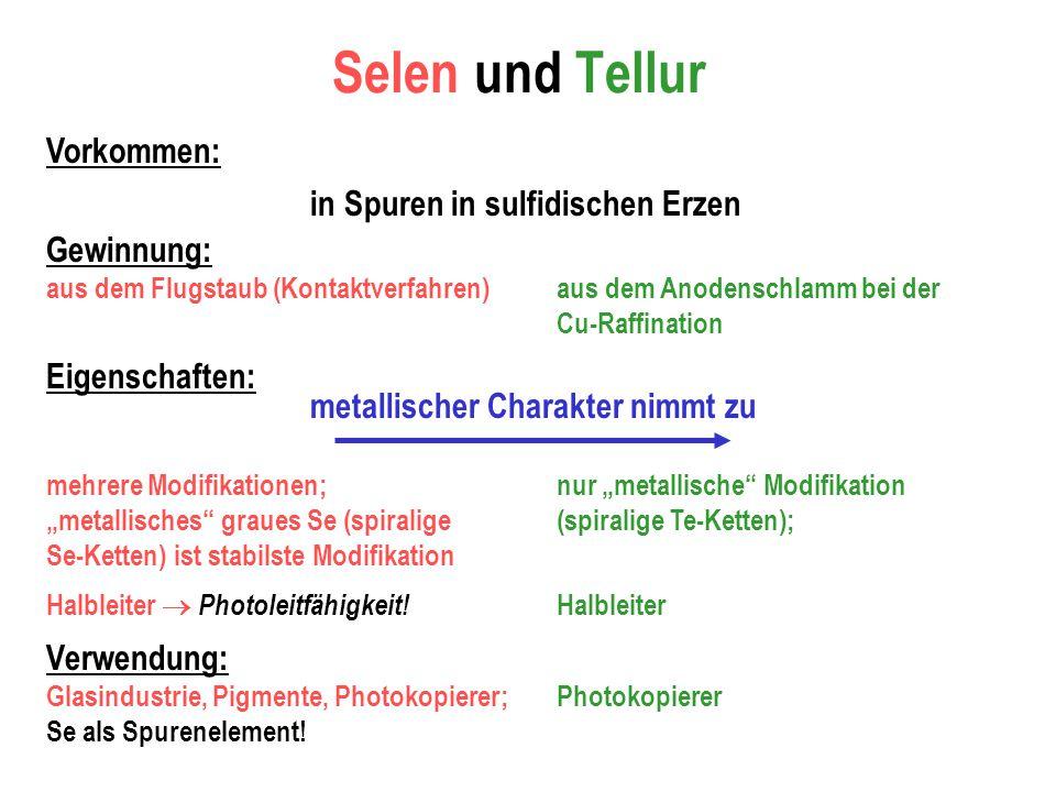 Selen und Tellur Vorkommen: Gewinnung: in Spuren in sulfidischen Erzen