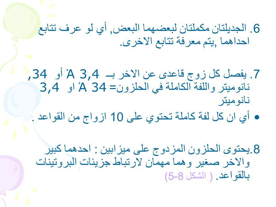 6. الجديلتان مكملتان لبعضهما البعض, أي لو عرف تتابع احداهما ,يتم معرفة تتابع الاخرى.