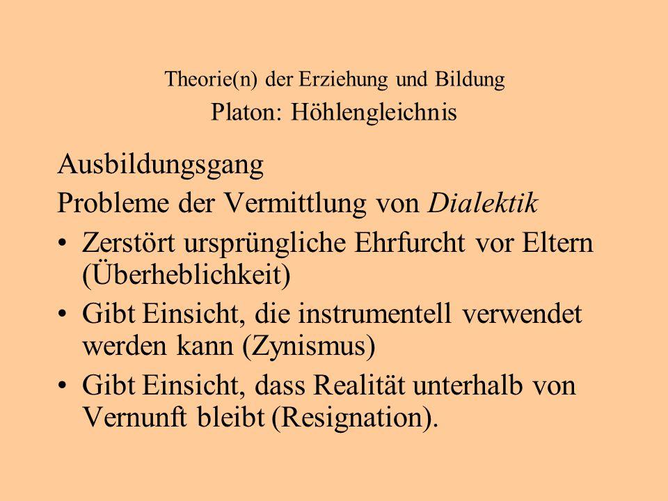 Theorie(n) der Erziehung und Bildung Platon: Höhlengleichnis