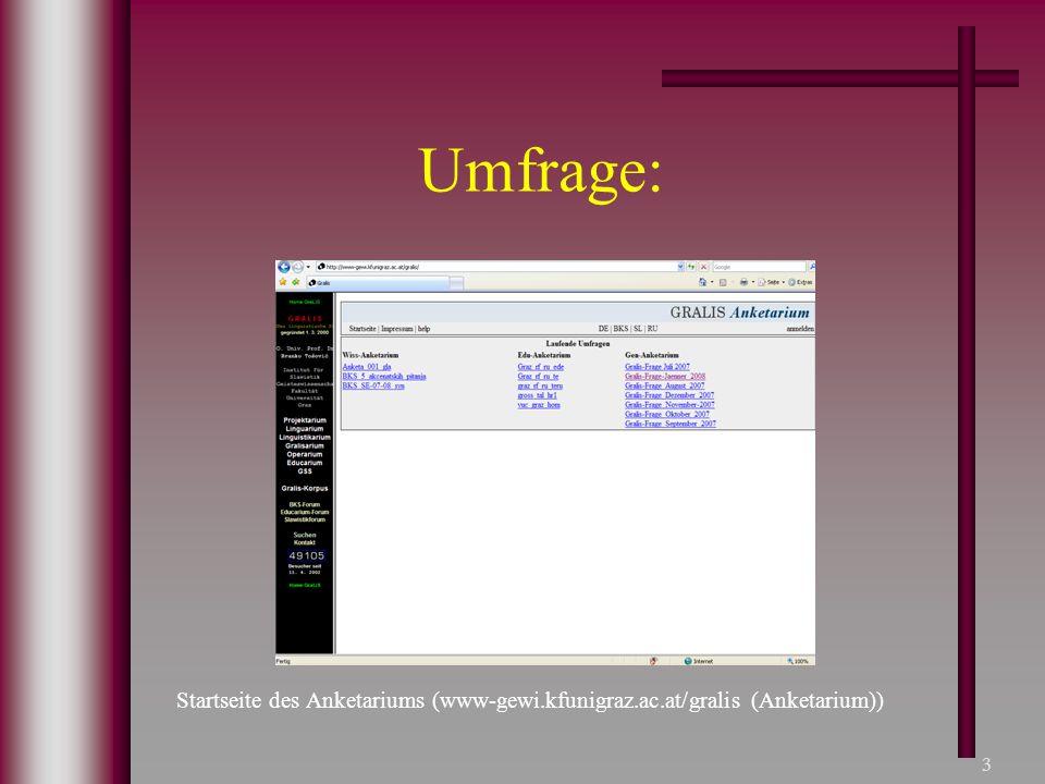 Umfrage: Startseite des Anketariums (www-gewi.kfunigraz.ac.at/gralis (Anketarium))