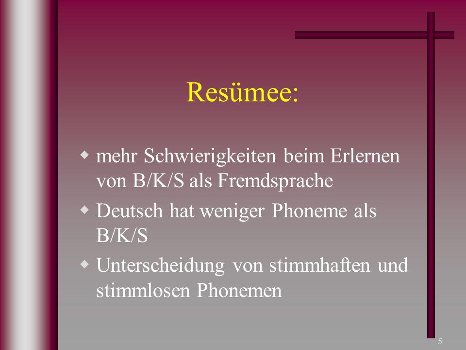 Resümee: mehr Schwierigkeiten beim Erlernen von B/K/S als Fremdsprache