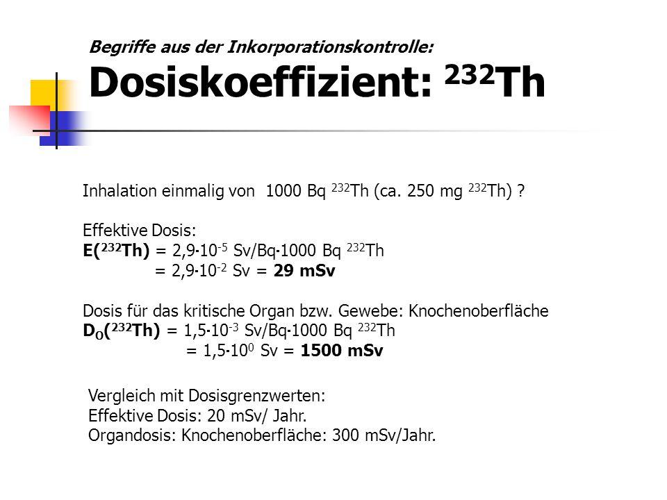 Begriffe aus der Inkorporationskontrolle: Dosiskoeffizient: 232Th