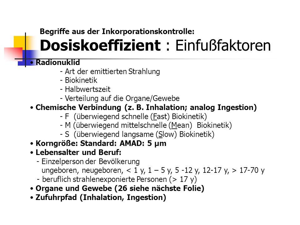Begriffe aus der Inkorporationskontrolle: Dosiskoeffizient : Einfußfaktoren