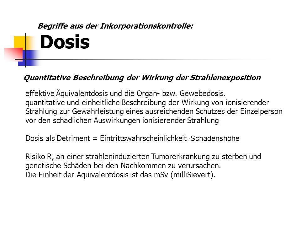 Begriffe aus der Inkorporationskontrolle: Dosis
