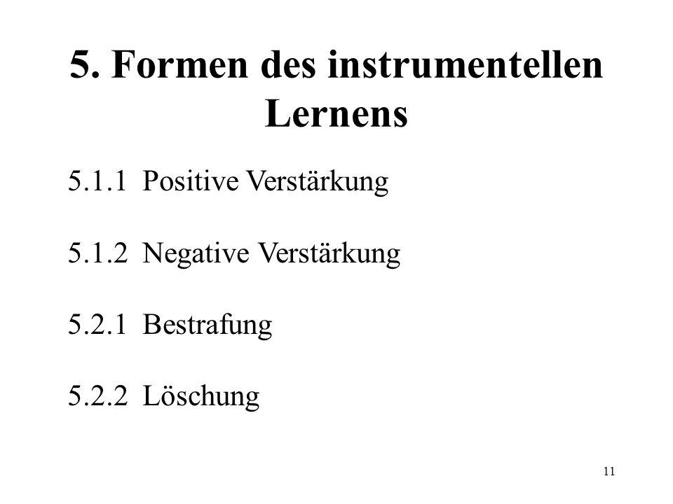 5. Formen des instrumentellen Lernens