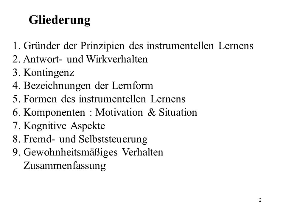 Gliederung 1. Gründer der Prinzipien des instrumentellen Lernens