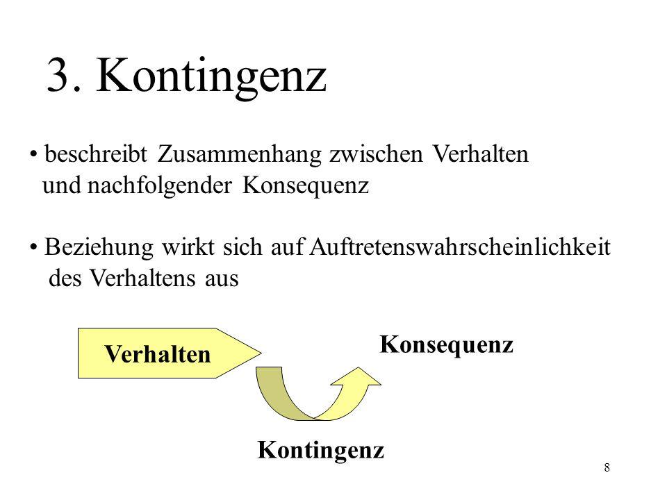 3. Kontingenz • beschreibt Zusammenhang zwischen Verhalten