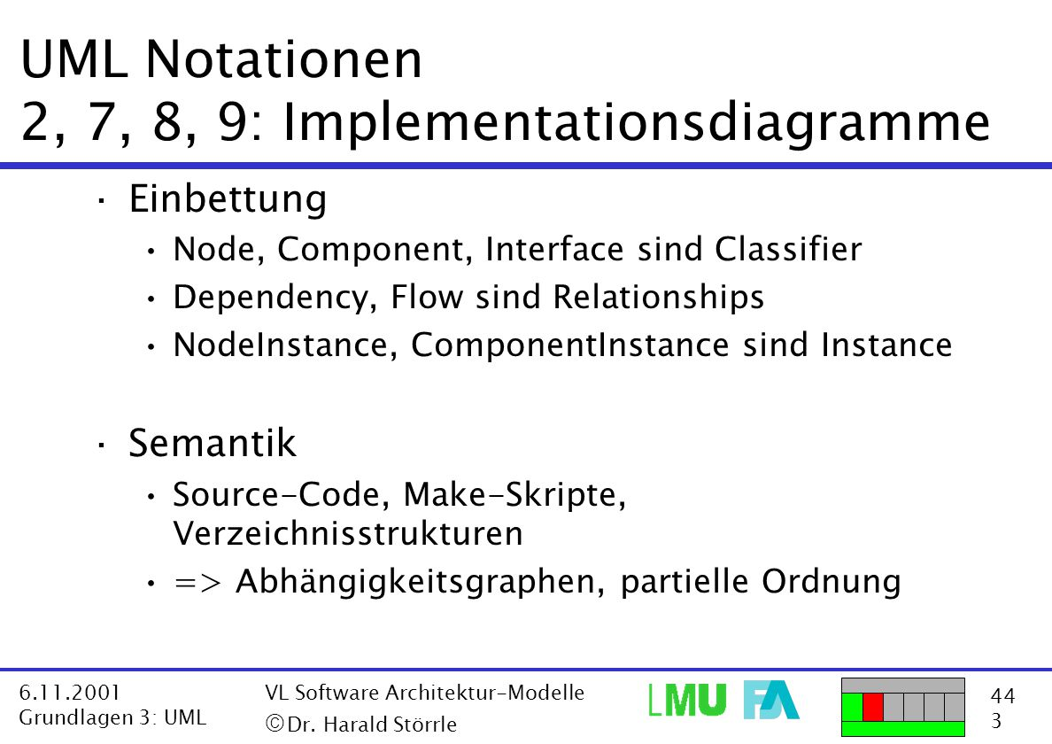 UML Notationen 2, 7, 8, 9: Implementationsdiagramme
