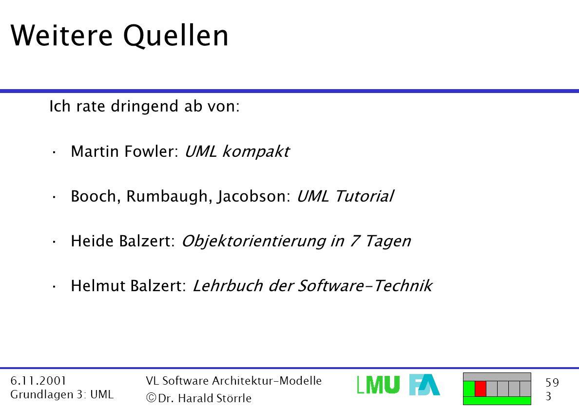 Weitere Quellen Ich rate dringend ab von: Martin Fowler: UML kompakt