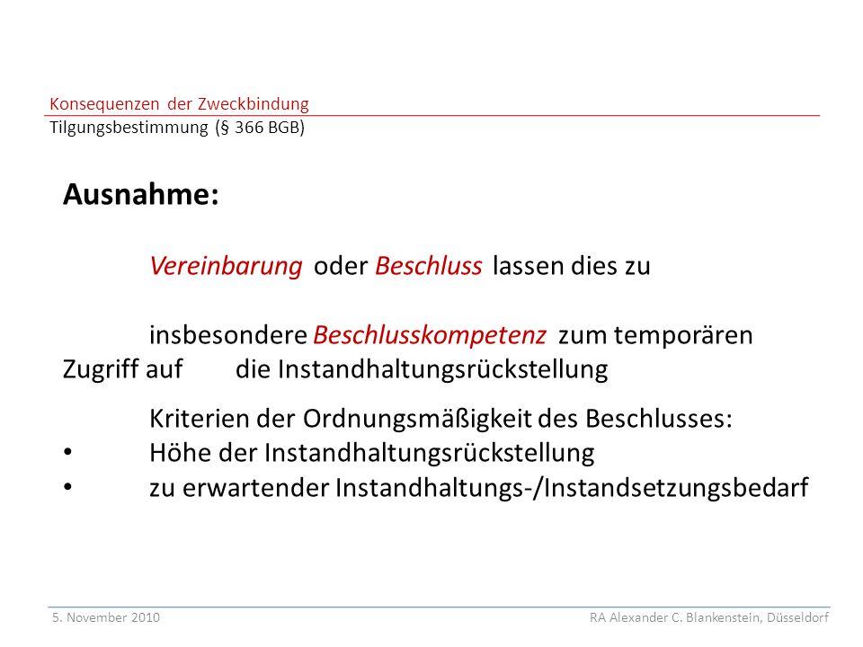 Konsequenzen der Zweckbindung Tilgungsbestimmung (§ 366 BGB)