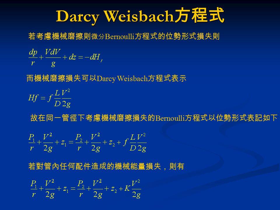 Darcy Weisbach方程式 若考慮機械磨擦則微分Bernoulli方程式的位勢形式損失則