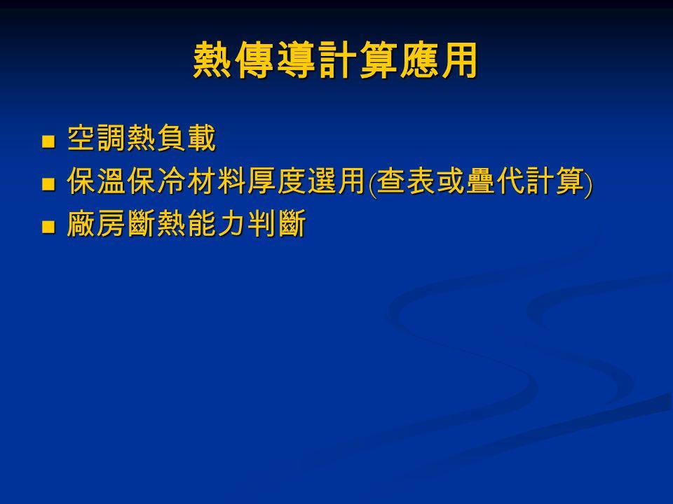 熱傳導計算應用 空調熱負載 保溫保冷材料厚度選用(查表或疊代計算) 廠房斷熱能力判斷
