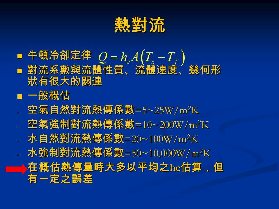 熱對流 牛頓冷卻定律 對流系數與流體性質、流體速度、幾何形狀有很大的關連 一般概估 空氣自然對流熱傳係數=5~25W/m2K