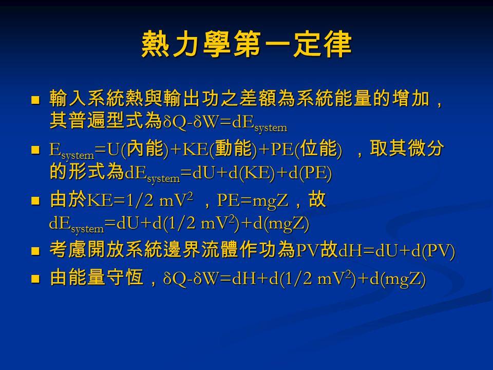 熱力學第一定律 輸入系統熱與輸出功之差額為系統能量的增加,其普遍型式為δQ-δW=dEsystem