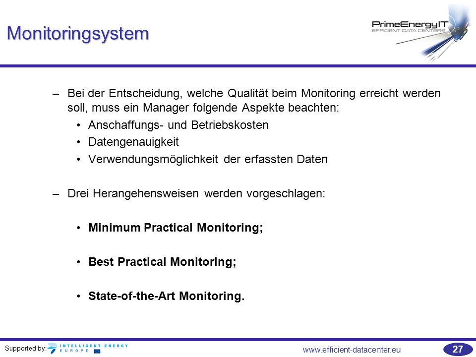 Monitoringsystem Bei der Entscheidung, welche Qualität beim Monitoring erreicht werden soll, muss ein Manager folgende Aspekte beachten: