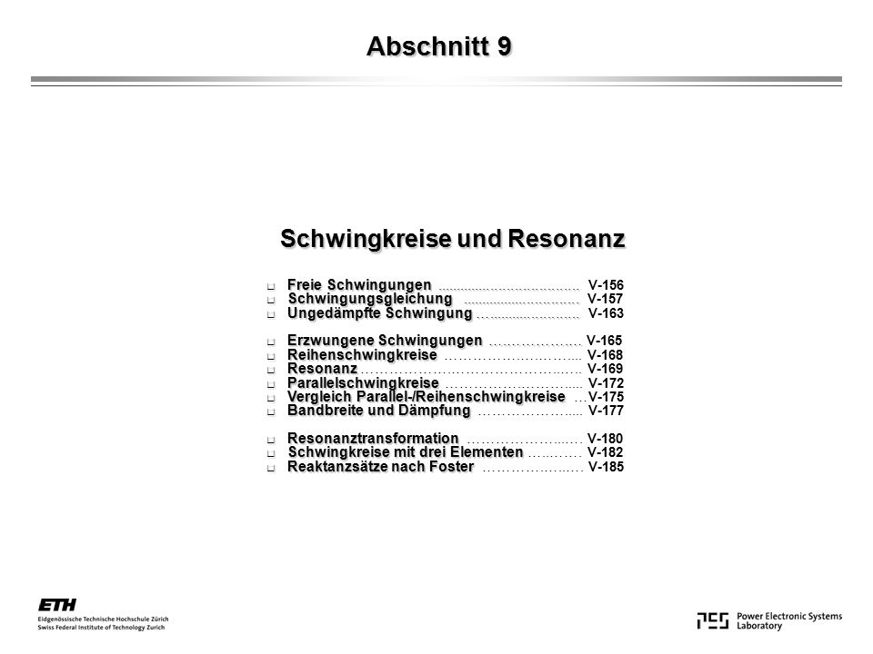 Abschnitt 9 Schwingkreise und Resonanz