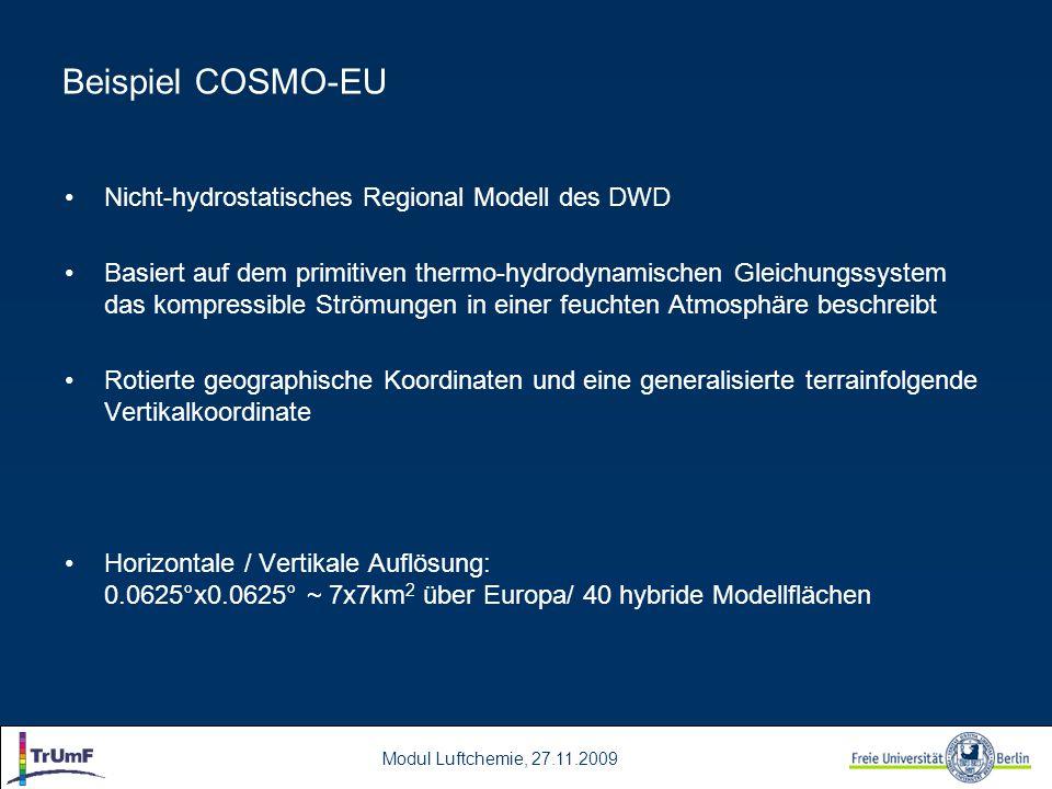 Beispiel COSMO-EU Nicht-hydrostatisches Regional Modell des DWD