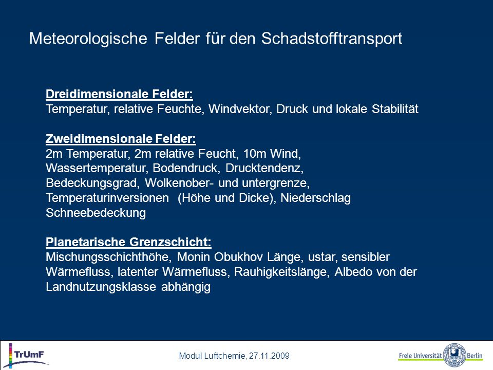 Meteorologische Felder für den Schadstofftransport