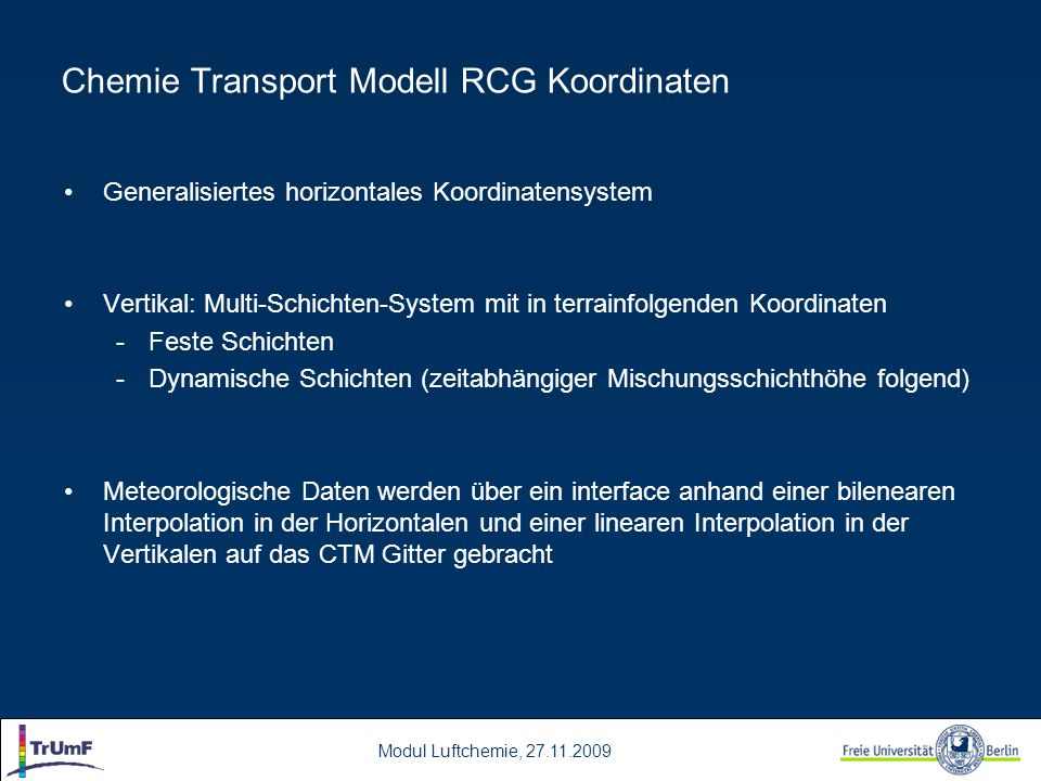 Chemie Transport Modell RCG Koordinaten