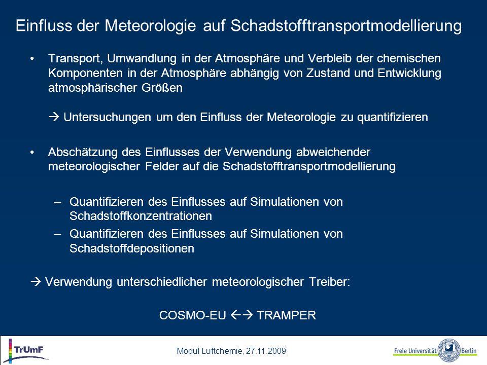 Einfluss der Meteorologie auf Schadstofftransportmodellierung