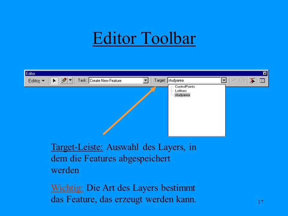 Editor Toolbar Target-Leiste: Auswahl des Layers, in dem die Features abgespeichert werden.