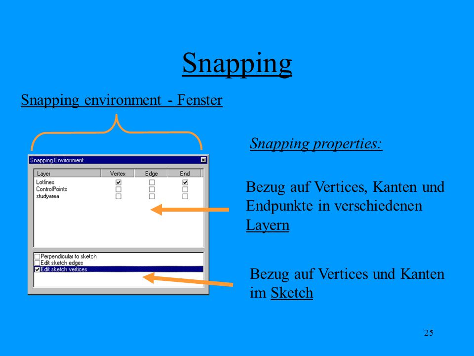 Snapping Snapping environment - Fenster Snapping properties: