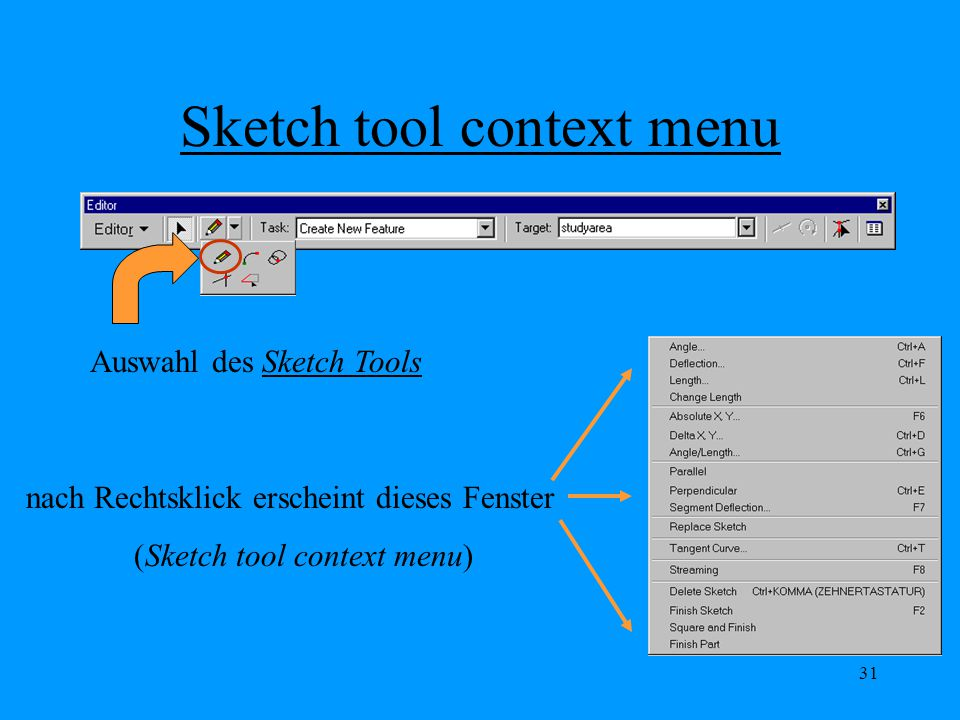 Sketch tool context menu