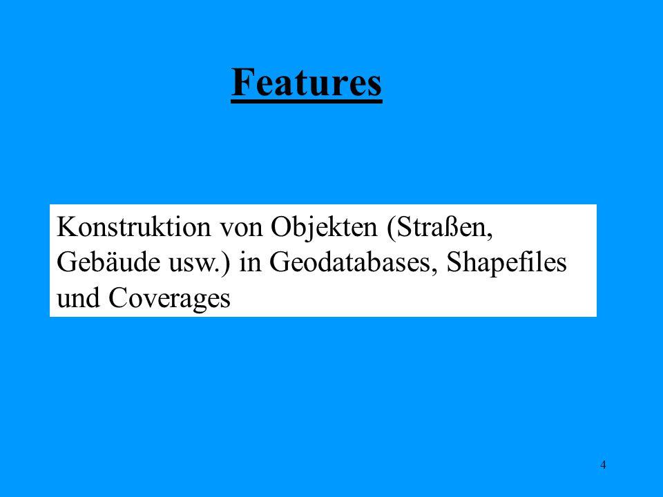 Features Konstruktion von Objekten (Straßen, Gebäude usw.) in Geodatabases, Shapefiles und Coverages.